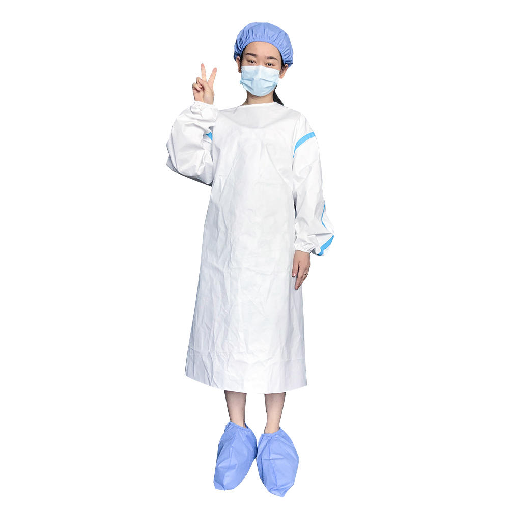 Waterproof medical PE coated surgical gown with plastic strips
