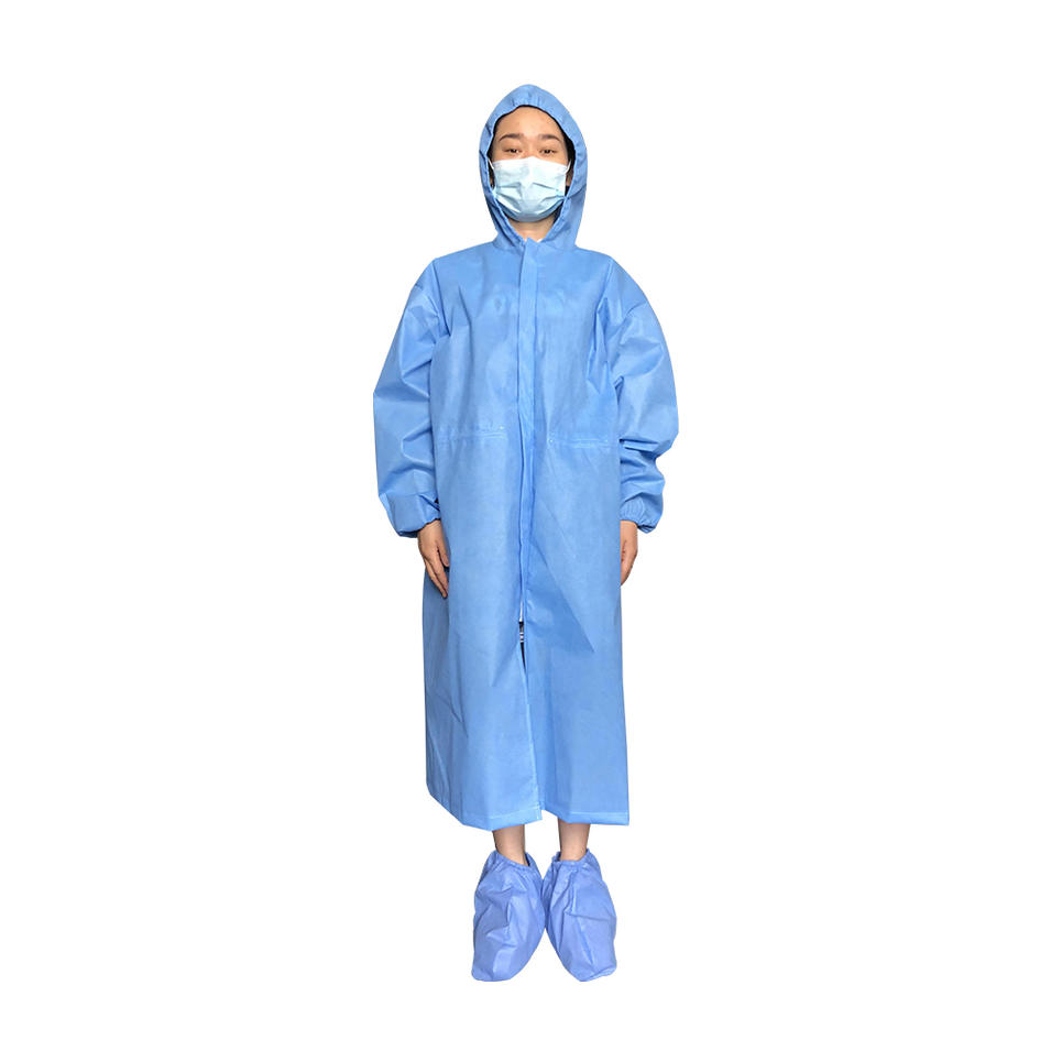 Waterproof medical operating room non woven fabric SMS surgical gown with hood