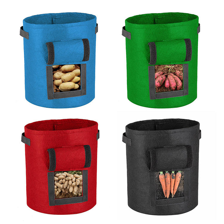 breathable thicken felt non woven fabric planter grow bag with handle for tree farms