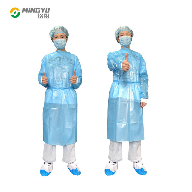 PP nonwoven fabric with threaded cuffs disposable medical surgical gown