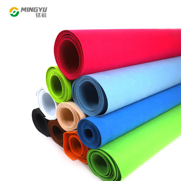 Mingyu wholesale eco 3mm 180 gsm grey soft wool sheet polyester upholstery non woven felt fabric rolls for sale