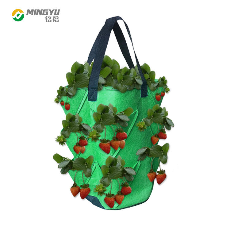 Breathable thicken heavy duty hanging strawberry planting bag with handle